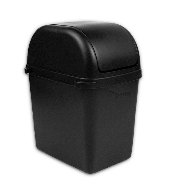 Zone Tech Portable Small Car Garbage Trash Litter Wastebasket Can Latch