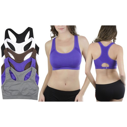 (6-Pack) Women's Double Layered High Impact Sports Bras