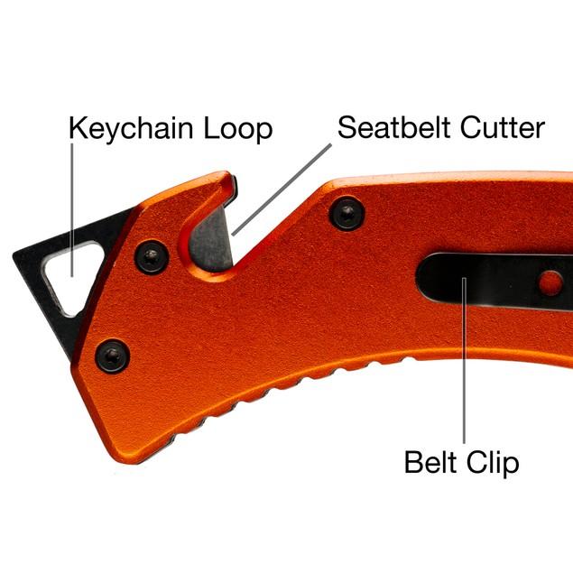 Outdoor Nation Rescue Folding Pocket Knife, Seatbelt Cutter & Glass Breaker