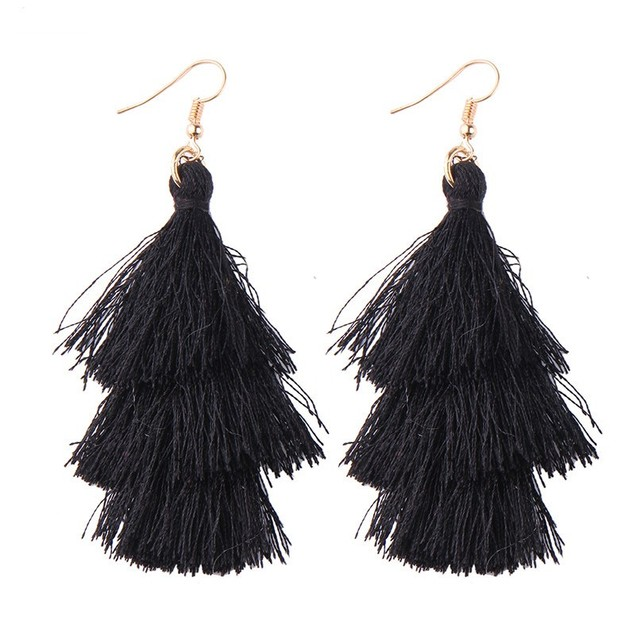 Drop Tassel Triple Earrings