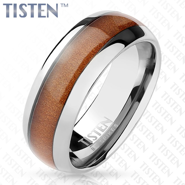 Wood Inlay Center Classic Dome Tungsten Titanium Alloy Tisten Ring