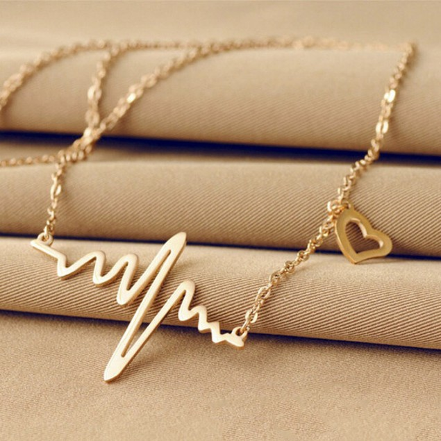 Gold Tone Heartbeat Necklace