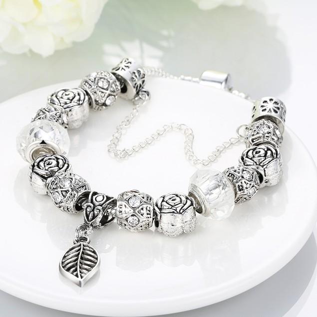 Ivory Cream Leaf Branch Designer Inspired Bracelet