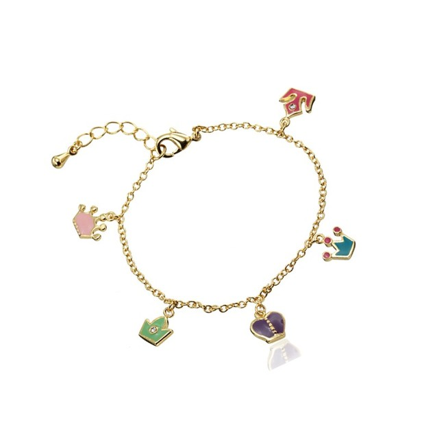 "18KGP Multi Colored Enameled Crowns Dangling W/ C.Z Children's Charm Bracelet. (5""+ 2""Extention)"