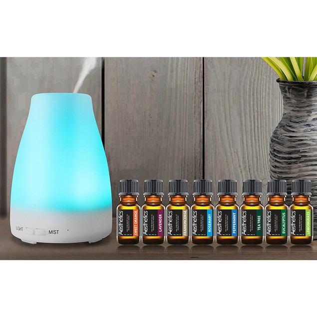 3-in-1 Ultrasonic Aroma Diffuser with Essential Oils (9-Piece Set)