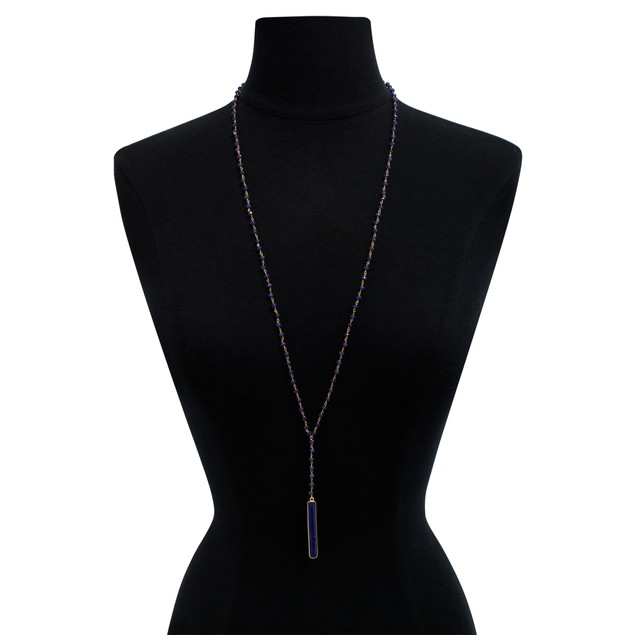 """14k Gold 58ct Sapphire Y Bar Strand Necklace, 36"""""""