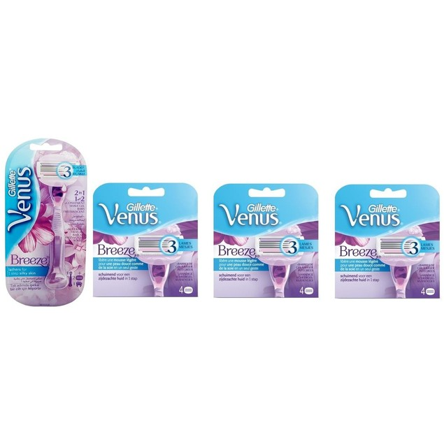 Gillette Venus Breeze Razor + 14 Refill Blade Cartridges
