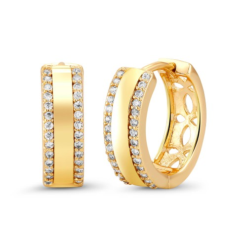 18kt Yellow Double Fancy Goldtone Cubic zirconia  Huggie Earrings