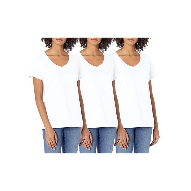 Women's Hanes Short Sleeve V-Neck Cotton Tee (Multi-Packs)