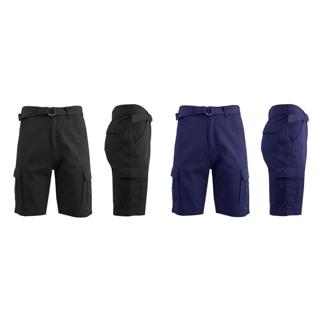 2-Pack Men's Cotton Twill Cargo Shorts With Belt (Size 30-42)