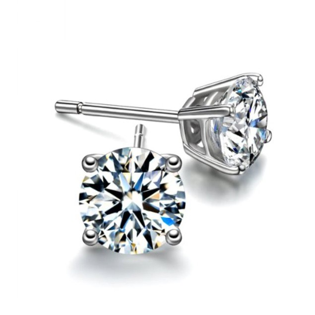 Sterling Silver Round Cubic Zirconia Studs