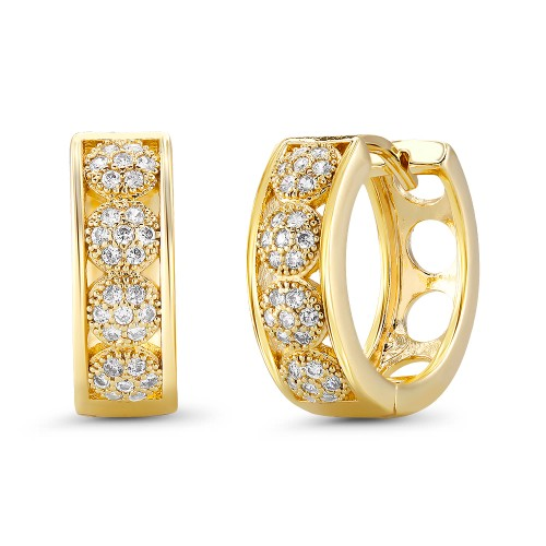 18kt Yellow Round Dotted Goldtone Cubic zirconia  Huggie Earrings