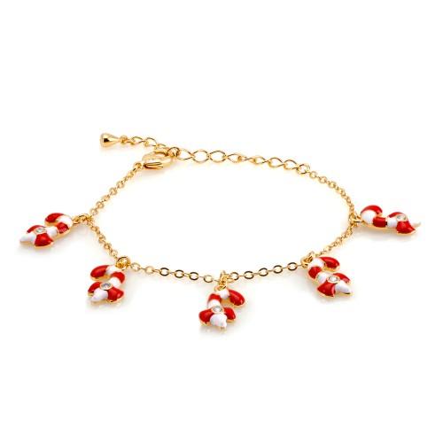 18KGP 5 Dangling Red & White C.Z Candy Kane Charms Enameled Children's Bracelets