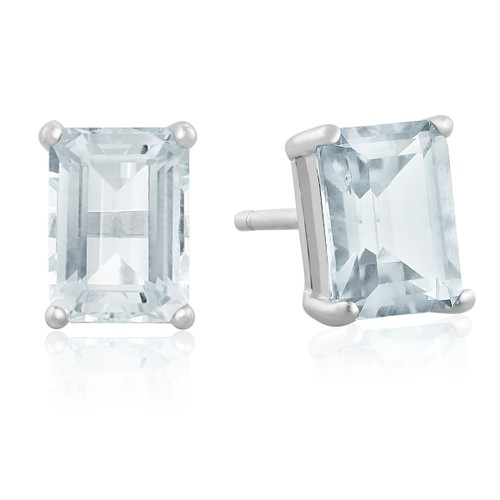 2 1/2ct Emerald Cut Aquamarine Earrings In Sterling Silver