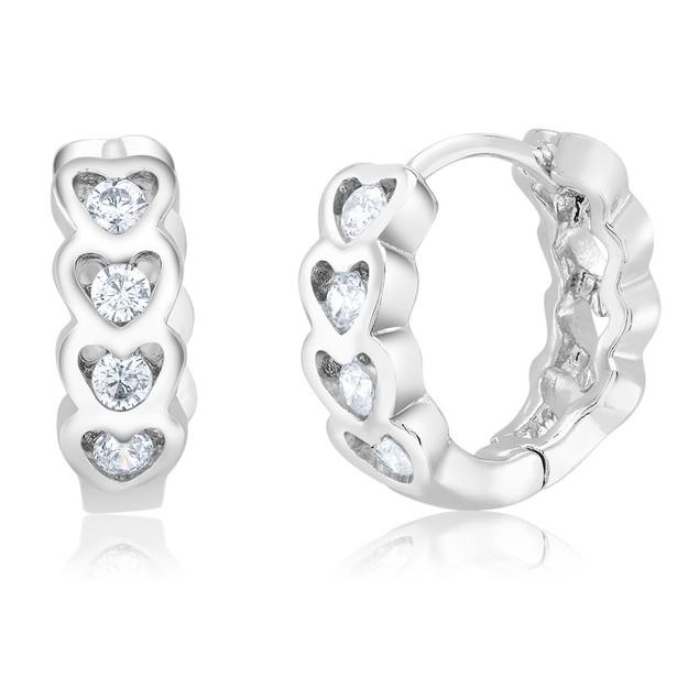 Cubic Zirconia Heart Huggie Earrings