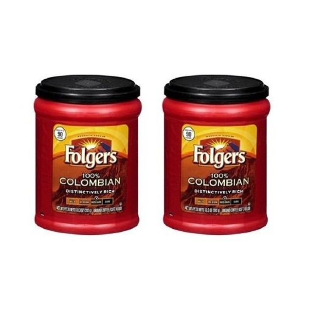 Folgers Coffee Medium-Dark 100% Colombian Ground 2 Can Pack