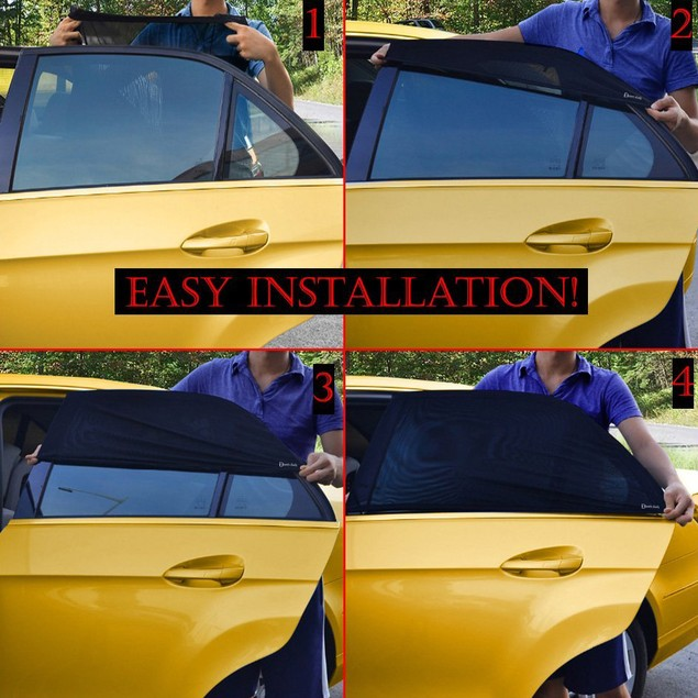 2-Pack Auto Slip-On Stretchy Mesh Protective Side Window Sunshade