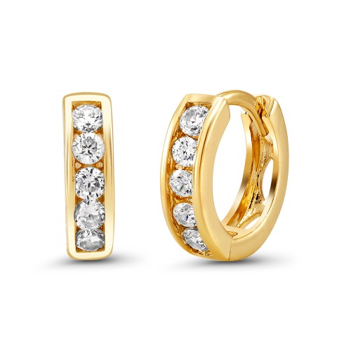 18kt Yellow Plain Goldtone Cubic zirconia  Huggie Earrings