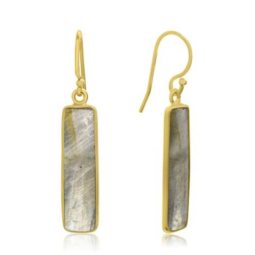 Gold Tone Sterling Silver 11 Carat Pyrite Bar Earrings