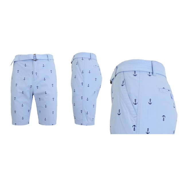 Men's Fashion Printed Belted Cotton Shorts