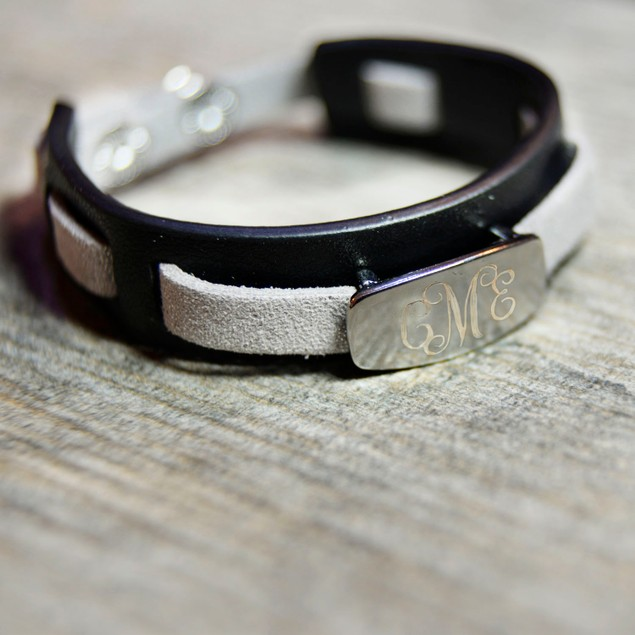 Personalized Black Woven Leather Bracelet with Free Gift!