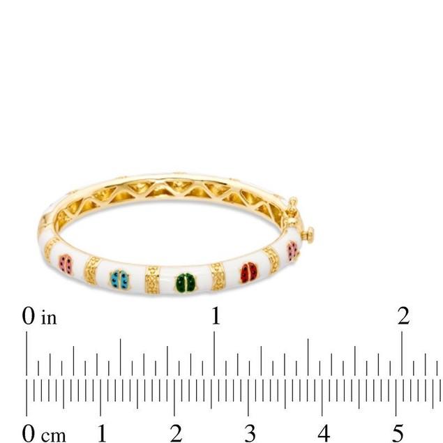 18KGP Multi Color Enameled Lady Bug Children's Bangle Bracelets