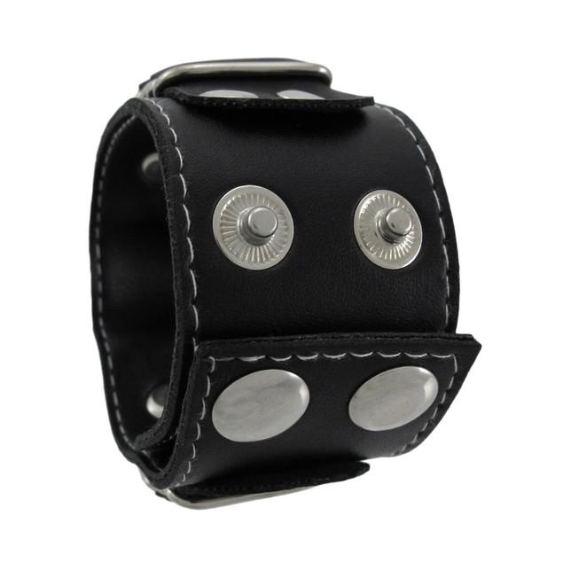 Black Vinyl Grim Reaper Wristband With Red Eyes Womens Cuff Bracelets