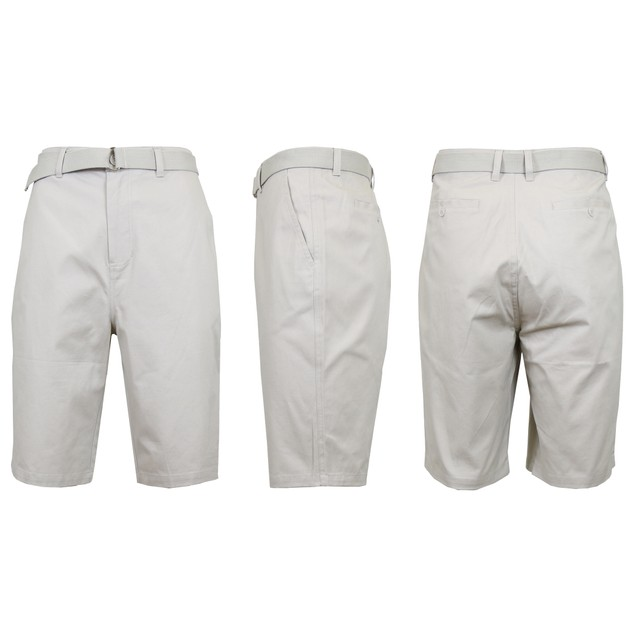 Men's Cotton Chino Shorts with Belt (Sizes 30-42)