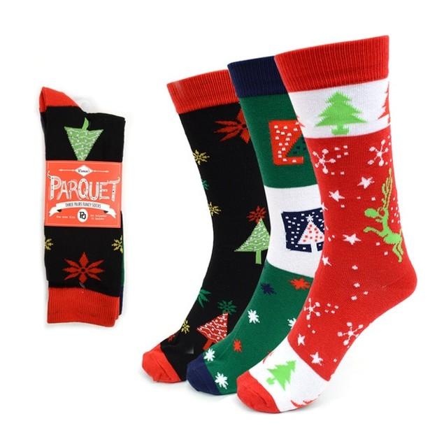 3-Pack Ladies Christmas Holidays Crew Socks