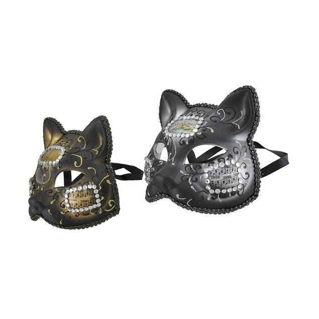 Pair Of Venetian Style Jeweled Gatto Musica Mens Costume Masks