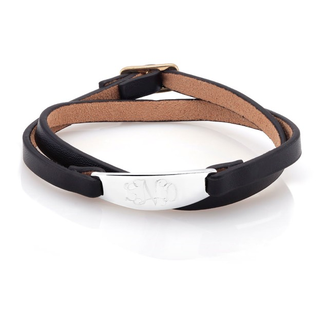 Personalized Black Leather Bracelet with Free Gift!
