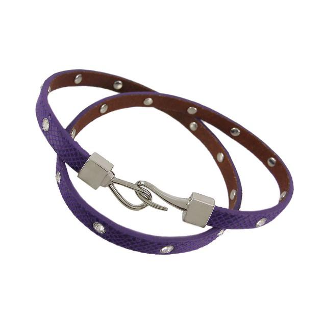 Purple Leather Python Triple Wrap Rhinestone Womens Leather Bracelets