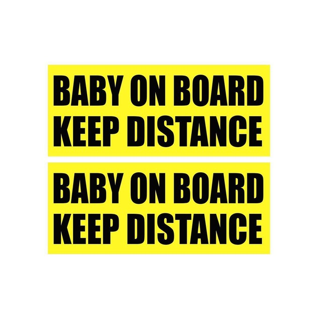 Zone Tech 2x Baby On Board Keep Distance Car Bumper Stickers Signs Decal