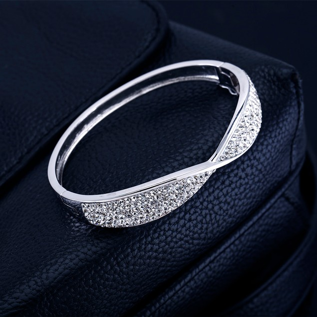 Pave Cubic Zirconia Long Life Bangle Bracelet