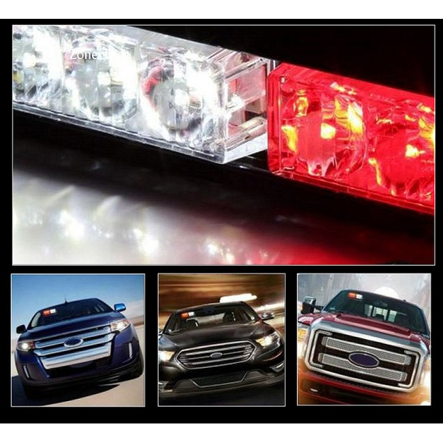 Zone Tech 16 LED Emergency Car Dash Warning Strobe Flash Light Red/White