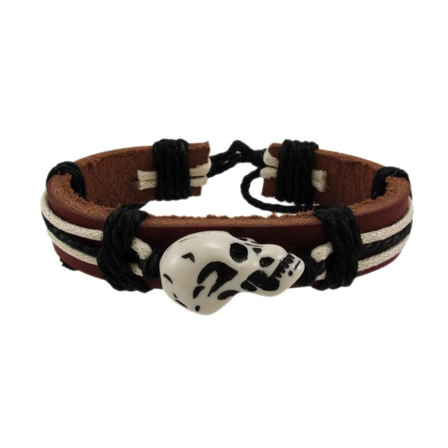 Brown Leather Carved Skull Bead Cord Bracelet Mens Leather Bracelets