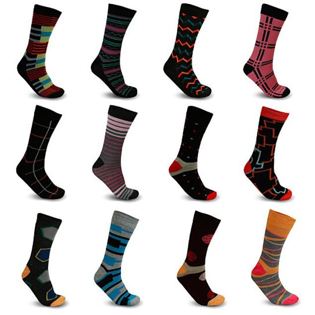 Men's James Fiallo Premium Quality Dress Socks (12 or 24 Pack)