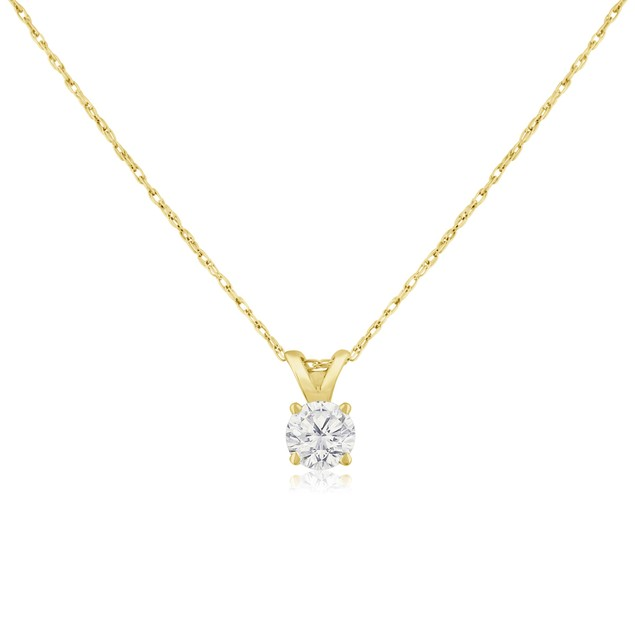 14k Yellow Gold 1/3 Carat Genuine Diamond Solitaire Necklace
