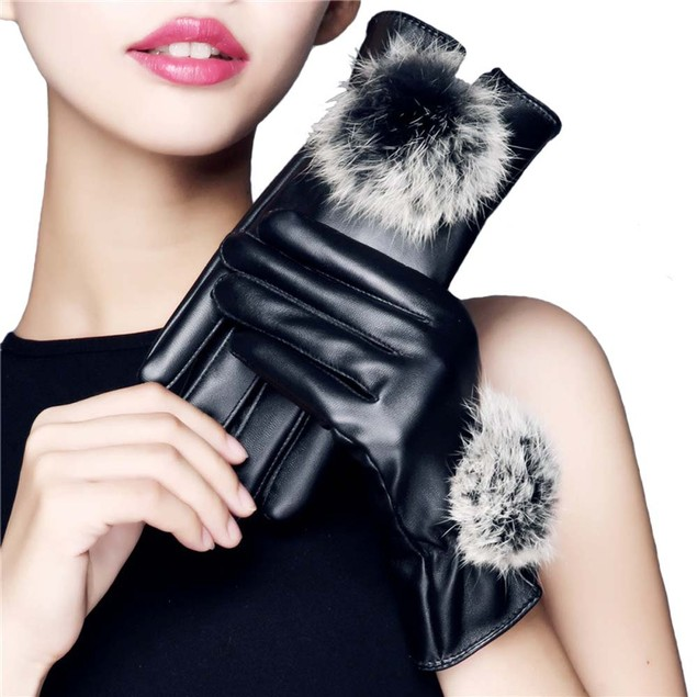 iPM Women's Touchscreen Leather Winter Gloves with Faux Fur Pom-Pom