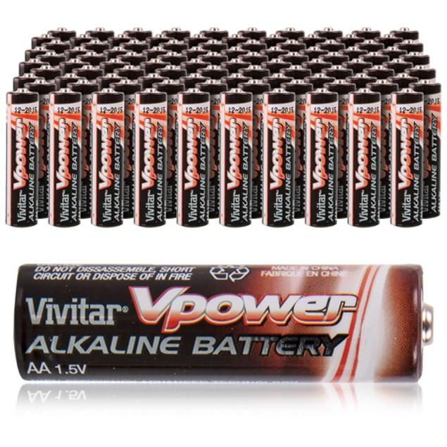 Vivitar 100-Pack AA/AAA Ultra Max High Power Alkaline Batteries