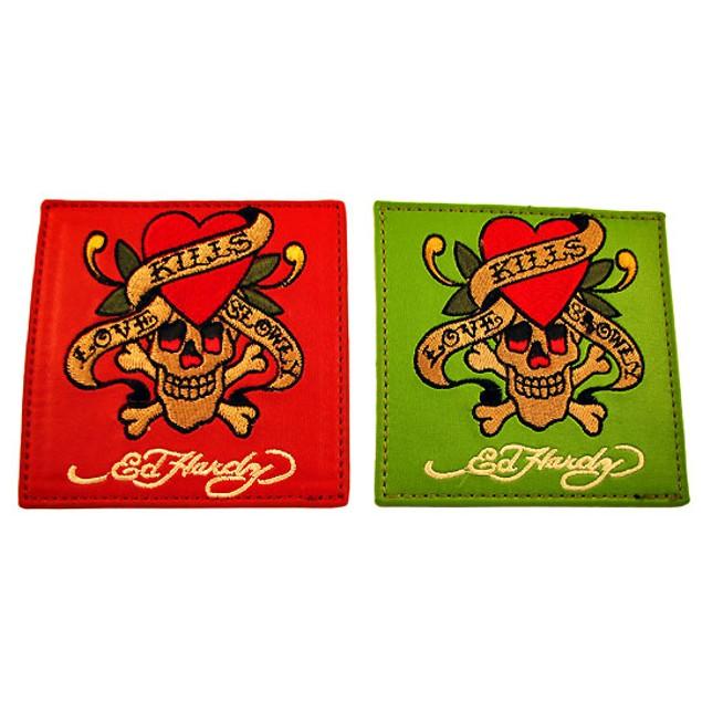 Set Of 4 Ed Hardy `Love Kills Slowly` Leather Coasters