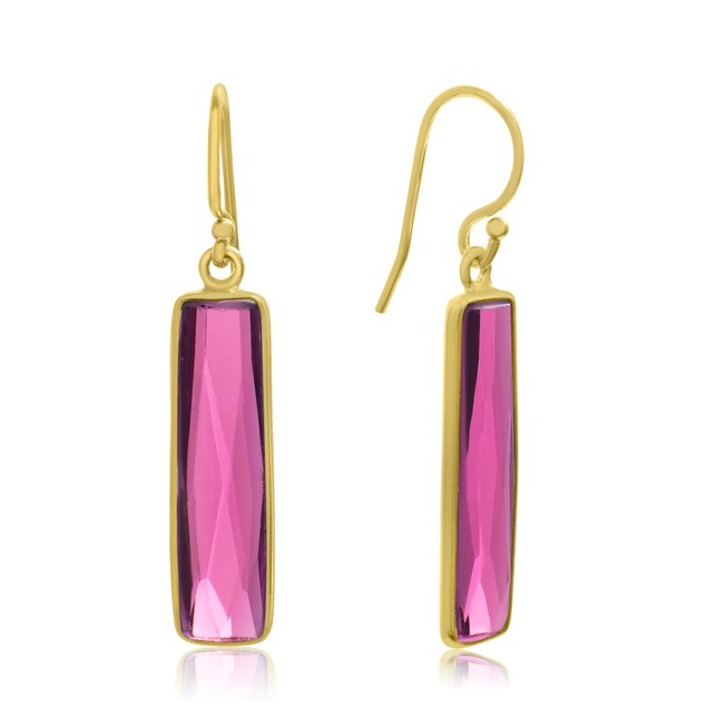 Gold Tone Sterling Silver 10 Carat Raspberry Quartz Bar Earrings