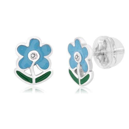 0.925 Sterling Silver Blue Flower Shape Enameled & Cubic.Zirconia Children's Post Earrings