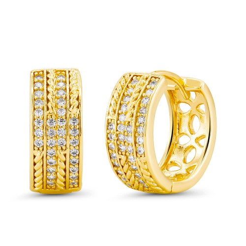 18kt Yellow Tripled  Goldtone Cubic zirconia  Huggie Earrings