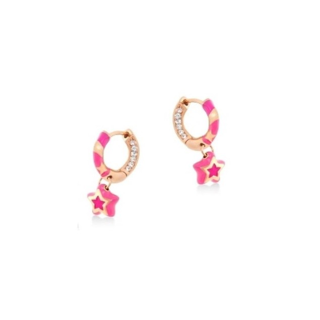 18KGP Hot Pink Enamel Huggies W/Dangling C.Z Star Children's Huggie Earrings