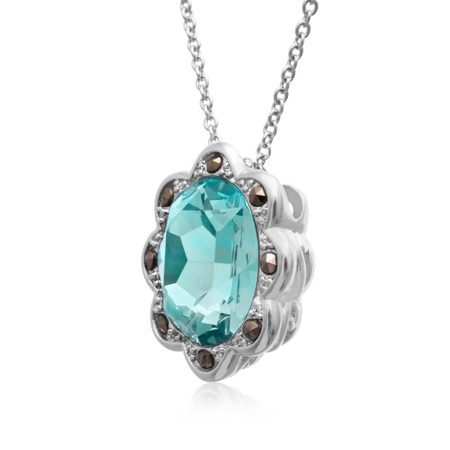 4ct Oval Shape Crystal Aquamarine and Marcasite Halo Necklace