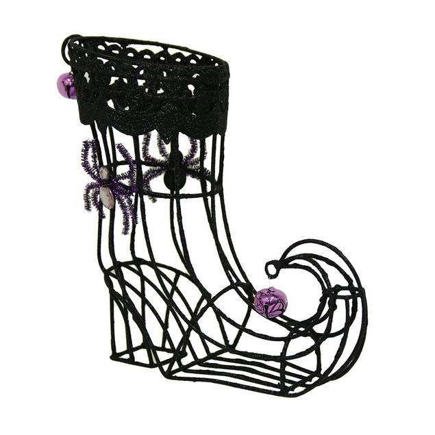 Witch Wine Sparkling Black Witch Spider Boot Tabletop Wine Racks