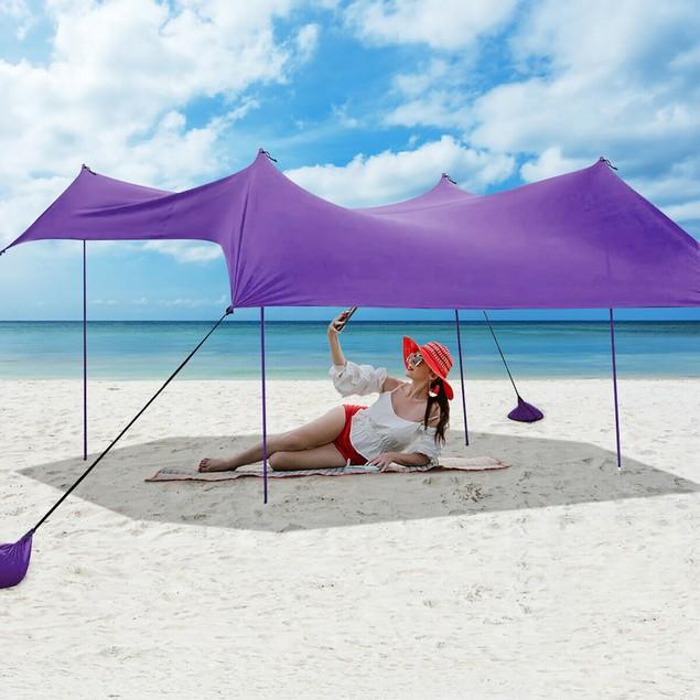Costway 10'x9' Family Beach Tent Canopy w/ 4 Poles & Sandbag Anchors
