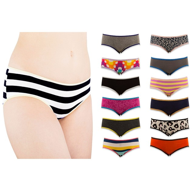 12-Pack Women's Assorted Hipster Panty Briefs