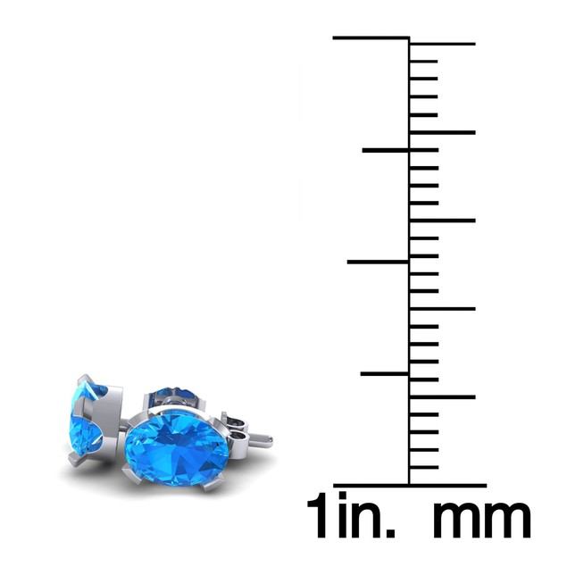 1.65cttw Oval-Cut Blue Topaz Necklace & Earring Set In Sterling Silver